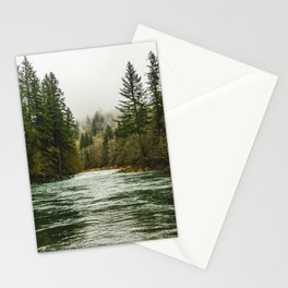 Wanderlust Forest River - Mountain Adventure in Foggy Woods Stationery Cards