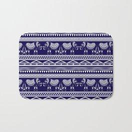White and Navy Blue Elephant Pattern Bath Mat