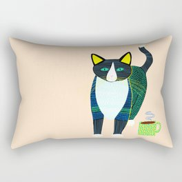 Graham the Cat with His Morning Coffee Rectangular Pillow