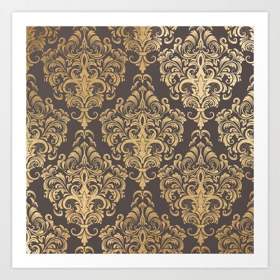 Gold swirls damask #7 Art Print