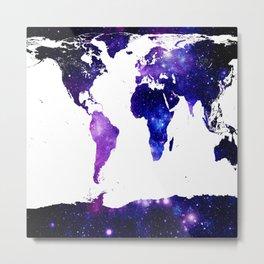 world map. (Blue Purple Galaxy) Metal Print