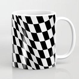Wavy checkered racing flag, black and white Coffee Mug