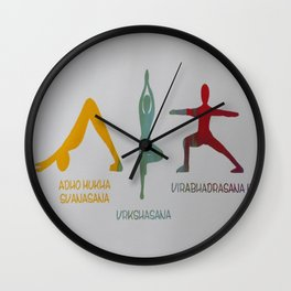Screenprinted Yoga Art: Asanas - Wild Veda Wall Clock