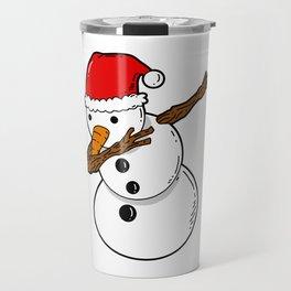 Dabbing Snowman Christmas Travel Mug