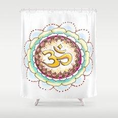 Radiating Om Shower Curtain