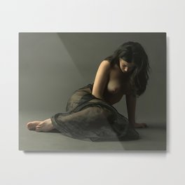 Woman with tulle Metal Print