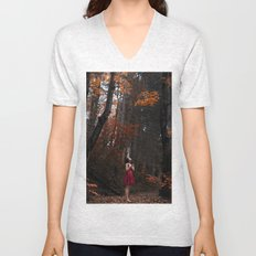 Girl in the red nature Unisex V-Neck