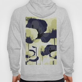 Dark Blue and Light Yellow Poppies On A White Background Fall Mood #decor #society6 #buyart Hoody