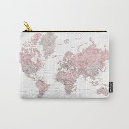 Wanderlust - Dusty pink and grey watercolor world map, detailed Carry-All Pouch