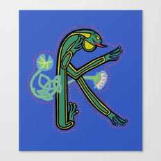 Medieval Frog letter K Canvas Print