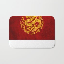Traditional Yellow and Red Chinese Dragon Circle Bath Mat