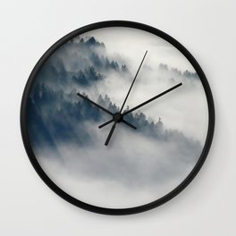 Mountain Fog and Forest Photo Wall Clock