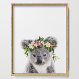 Baby Koala With Flower Crown, Baby Animals Art Print By Synplus Serving Tray