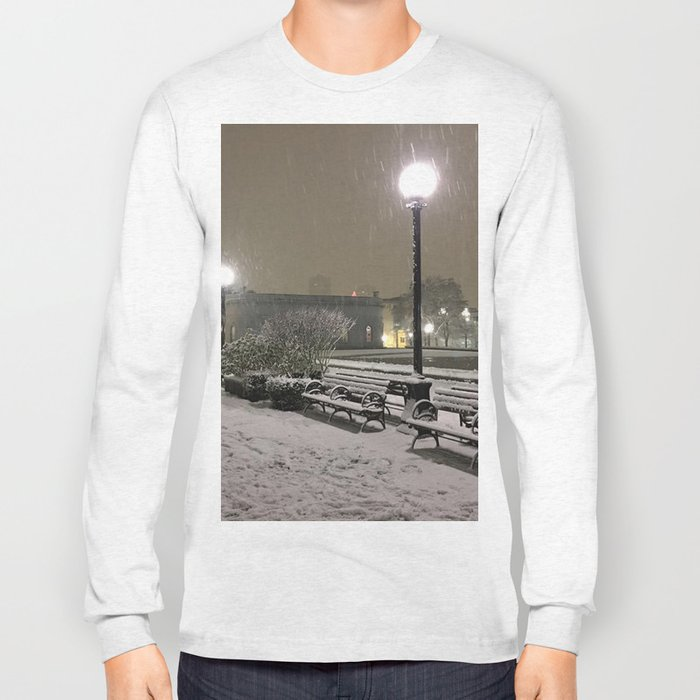Romantic Seattle Snow At Night Long Sleeve T-shirt