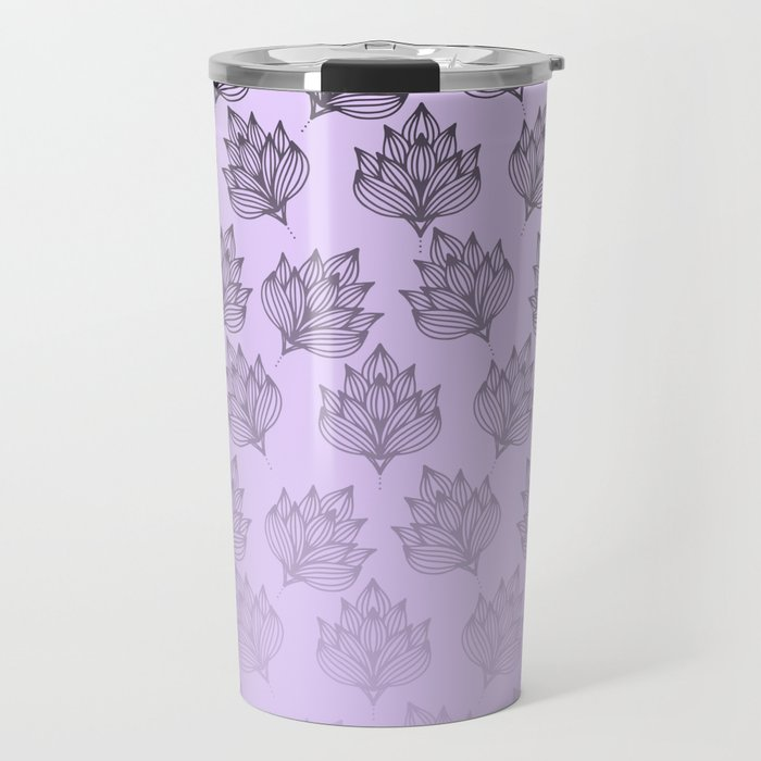 Abstract hand painted black lavender ombre floral Travel Mug