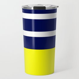 Summer Patio Perfect, Yellow, White & Navy Travel Mug