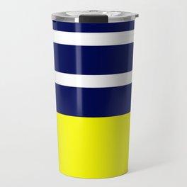Summer Patio Perfect, Yellow, White & Navy Travel Mug