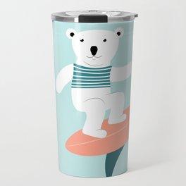 Polar bear surfing. Travel Mug