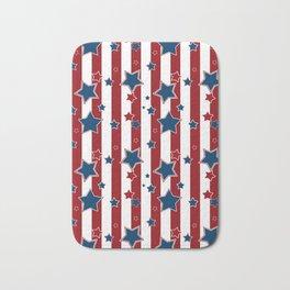 Blue stars, red striped Bath Mat