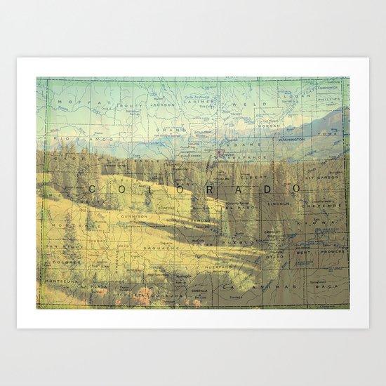 Colorado Mountain Map Art Print