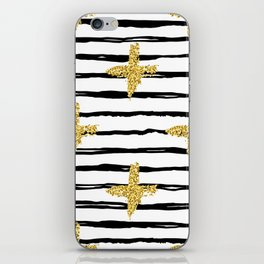 Gold glitter cross and black stripe iPhone Skin