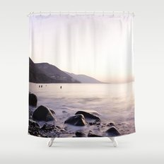 Water Washing Over the Rocks at Sunset, Waterville Beach, County Kerry, Ireland Shower Curtain