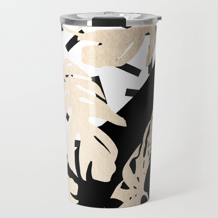 Simply Tropical Midnight Black Memphis Palm Leaves Travel Mug