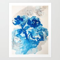 Roses and Blue Ink Art Print