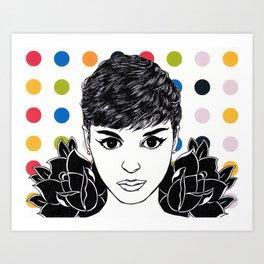 Audrey Hepburn: Mod Roses Art Print