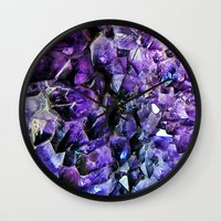 geode Wall Clocks featuring Amethyst Geode by The Wellington Boot