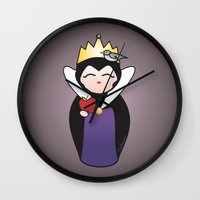 evil queen Wall Clocks featuring Evil Queen kokeshi by Pendientera