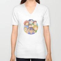 digimon V-neck T-shirts featuring Chosen Children by wattleseeds