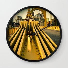 Pittsburgh Clemente Bridge Detail City Print Wall Clock
