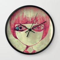 dark side Wall Clocks featuring dark side by Nora Ka