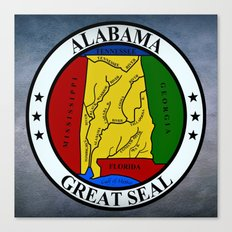 Alabama State Seal Clock  Canvas Print