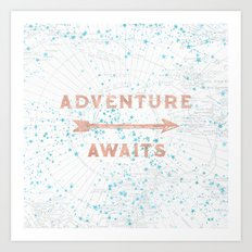 Adventure Awaits Rose Gold Art Print
