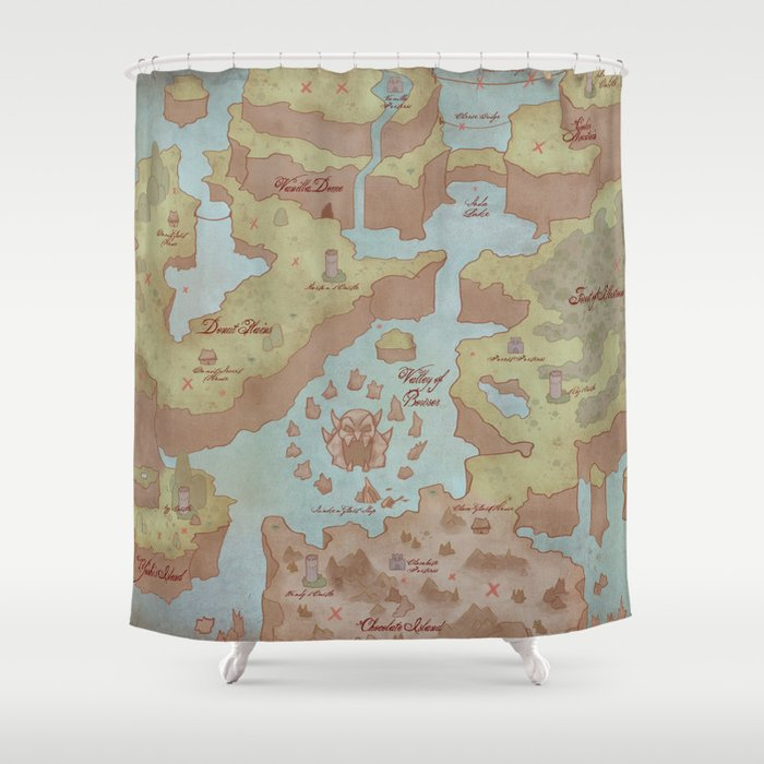 Super Mario World Map (Vintage Style) Shower Curtain by ...