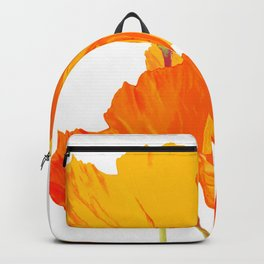 Orange and Yellow Poppies On A White Background #decor #society6 #buyart Backpack
