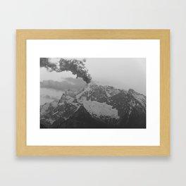 Volcano black and white Framed Art Print