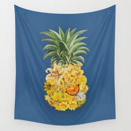 Pineapple Blue Wall Tapestry
