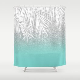Modern tropical white palm tree silver glitter ombre on robbin egg blue turquoise Shower Curtain