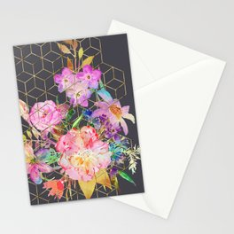 Modern watercolor floral and gold geometric cubes Stationery Cards