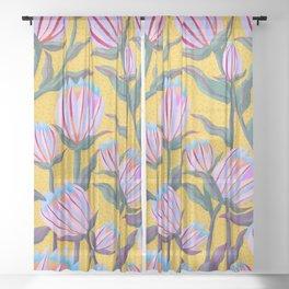 Bold Protea Flower Pattern - Pink Blue Green Purple Yellow Sheer Curtain