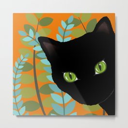 Black Kitty Cat In The Garden Metal Print