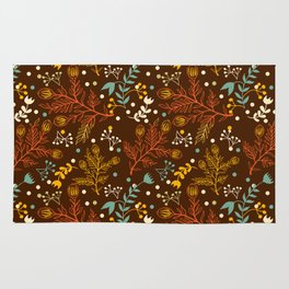 Elegant fall orange yellow teal brown floral polka dots Rug