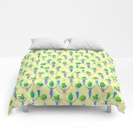 Topiary Ladies on Yellow Comforters