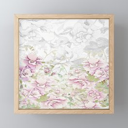 Watercolor Peony border sketch print pink Framed Mini Art Print