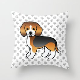 Cute Tricolor Beagle Dog Cartoon Illustration Throw Pillow