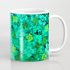 LUCK OF THE IRISH Colorful Emerald Green Ombre St Patricks Day Floral Shamrock Four Leaf Clover Art Mug