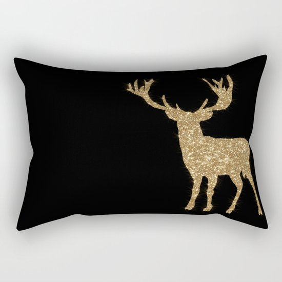Sparkling golden deer - Wild Animal Animals on #Society6 Rectangular Pillow